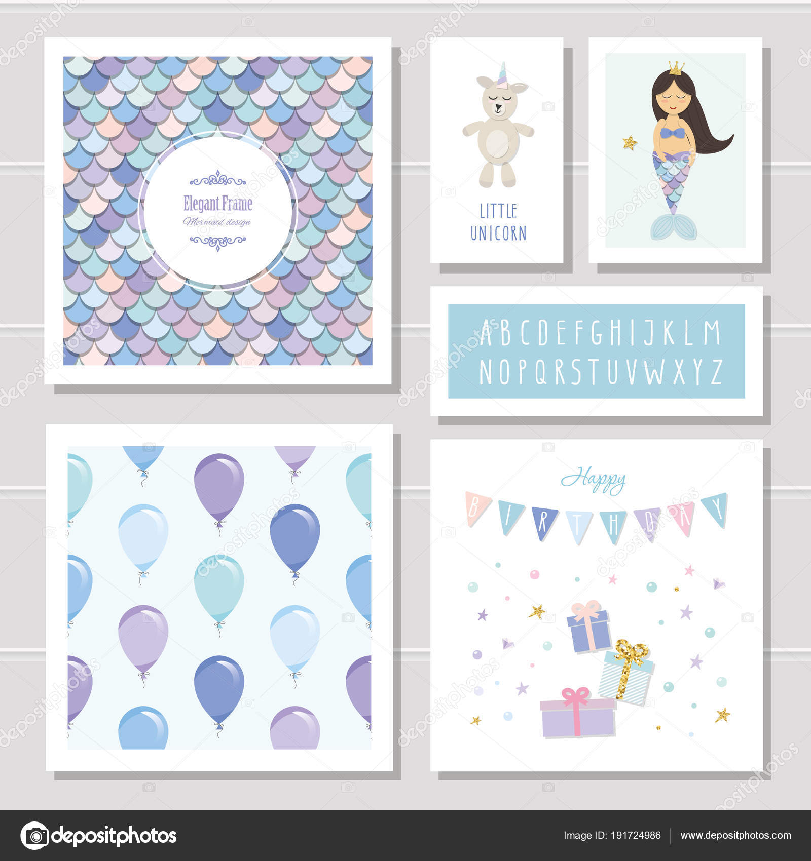 birthday card templates set mermaid and little unicorn cartoon