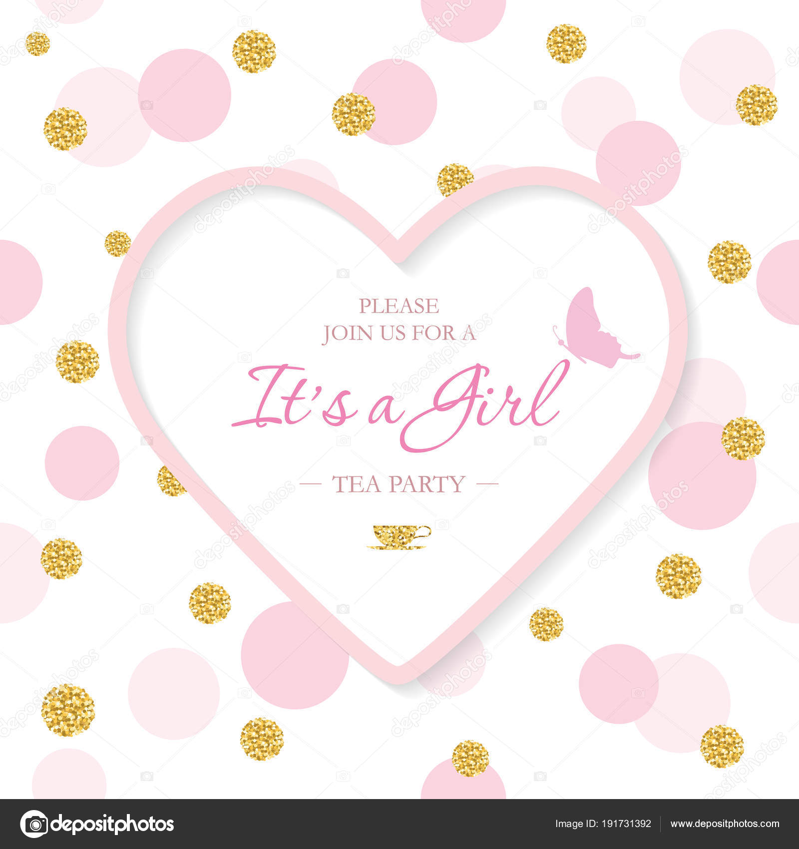 Girl Baby Shower invitation template. Included laser cutout heart ...