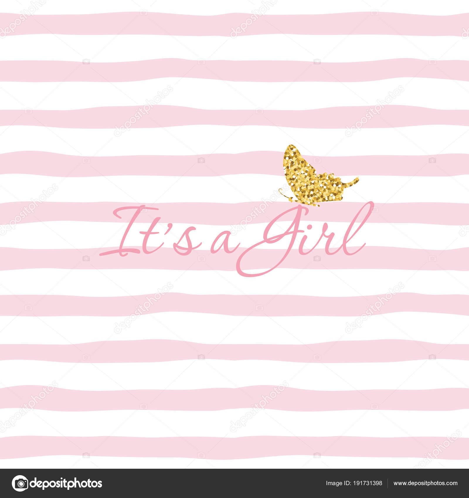 Es s ein Mädchen. Baby-Dusche-Vorlage mit Goldglitter Schmetterling ...