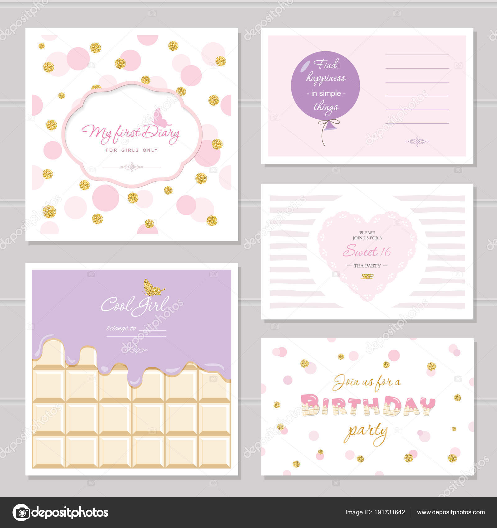 Cute Cards Design With Glitter For Teenage Girls Inspirational