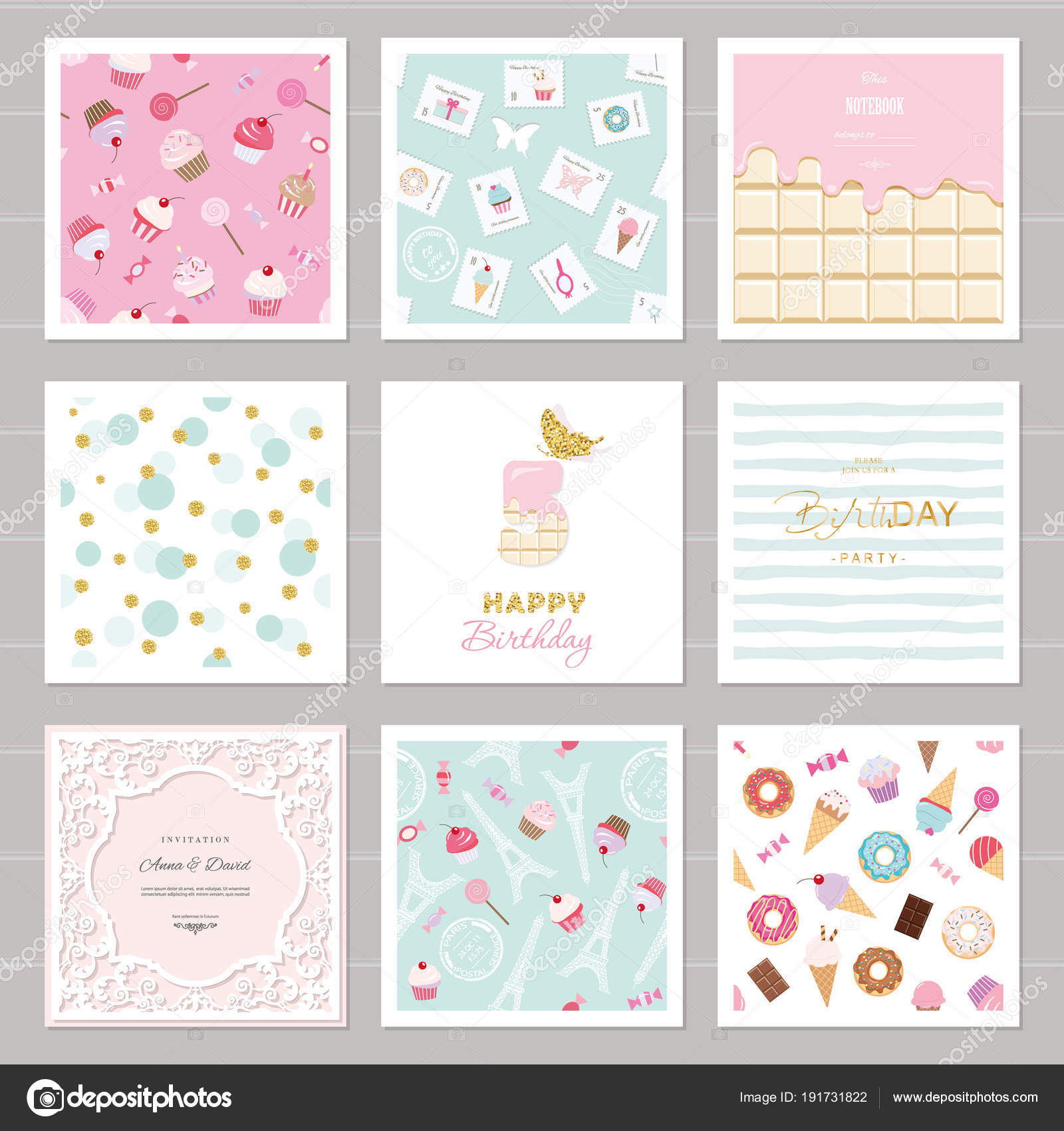 Cute card templates set for girls. Including frames, seamless ...
