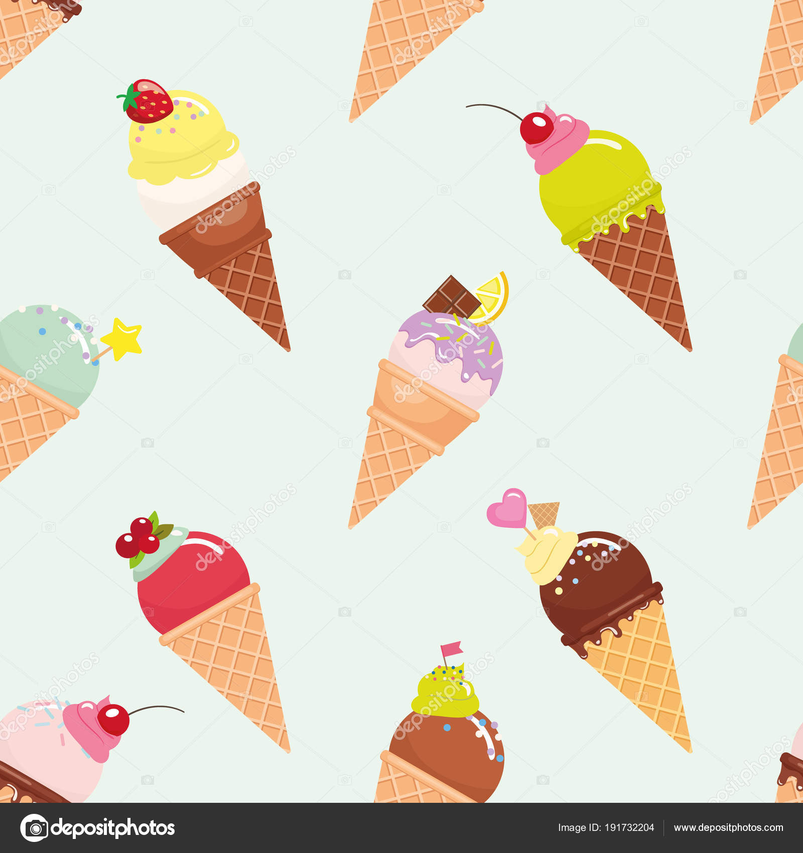 Ice Cream Cones Seamless Pattern Background Stock Vector: Ice Cream Cone Seamless Pattern Background. Realistic