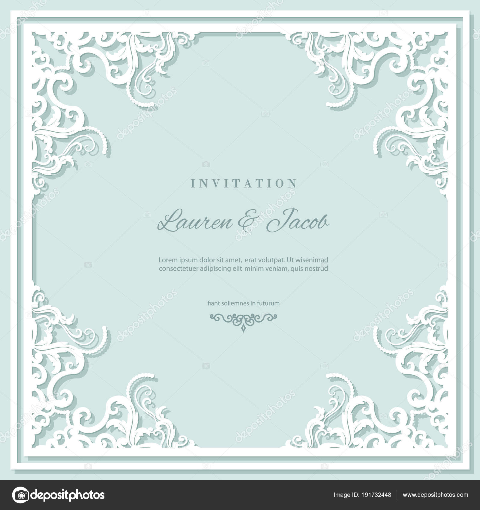 Wedding Invitation Card Template With Laser Cutting Frame Square