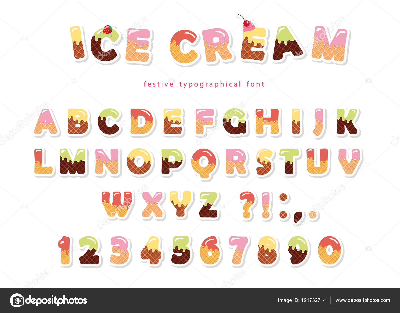 Ice Cream Font. Cute Wafer Letters And Numbers Can Be Used For