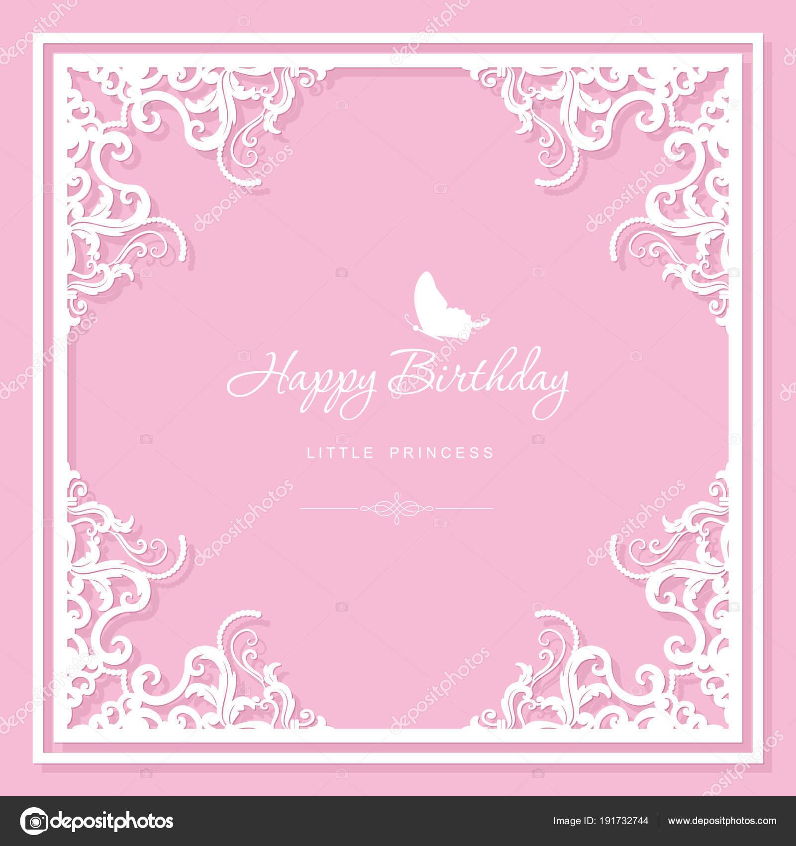 Elegant Decorative Frame Birthday Greeting Card Template Filigree