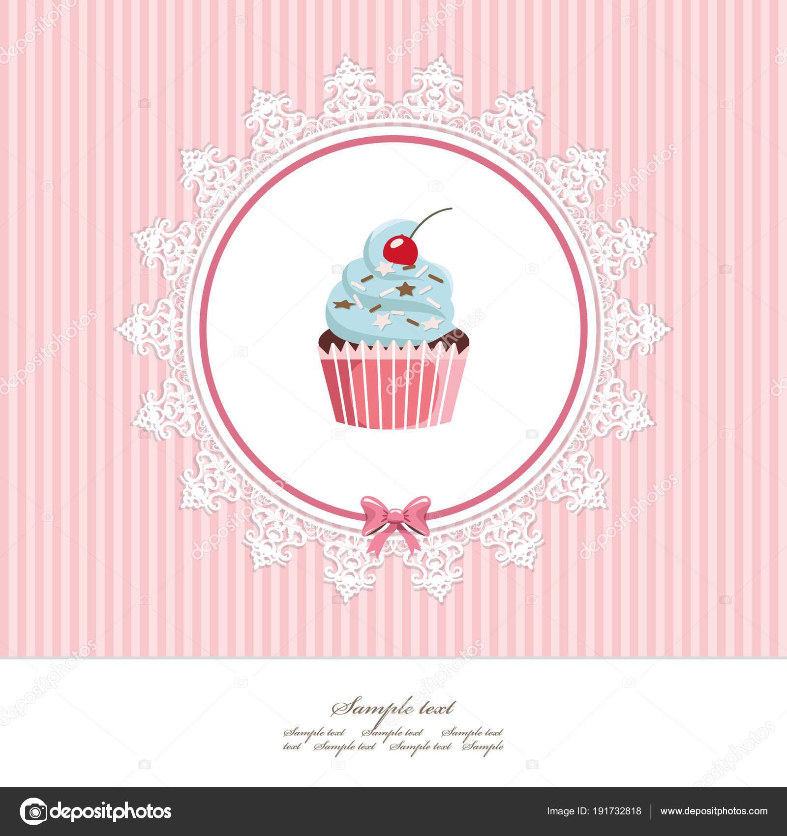 Modele De Carte De Voeux Avec Cupcake Pour Les Dessins Anniversaire