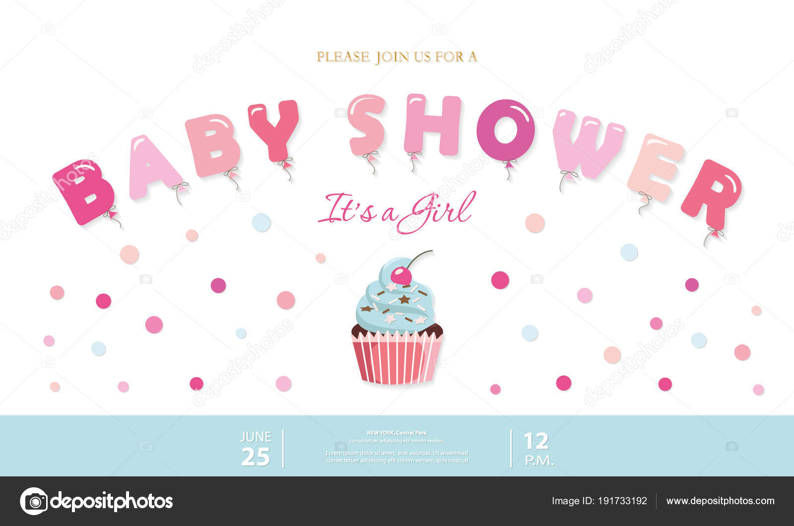 Girl Baby Shower Cute Template Party Invitation Card With Balloon