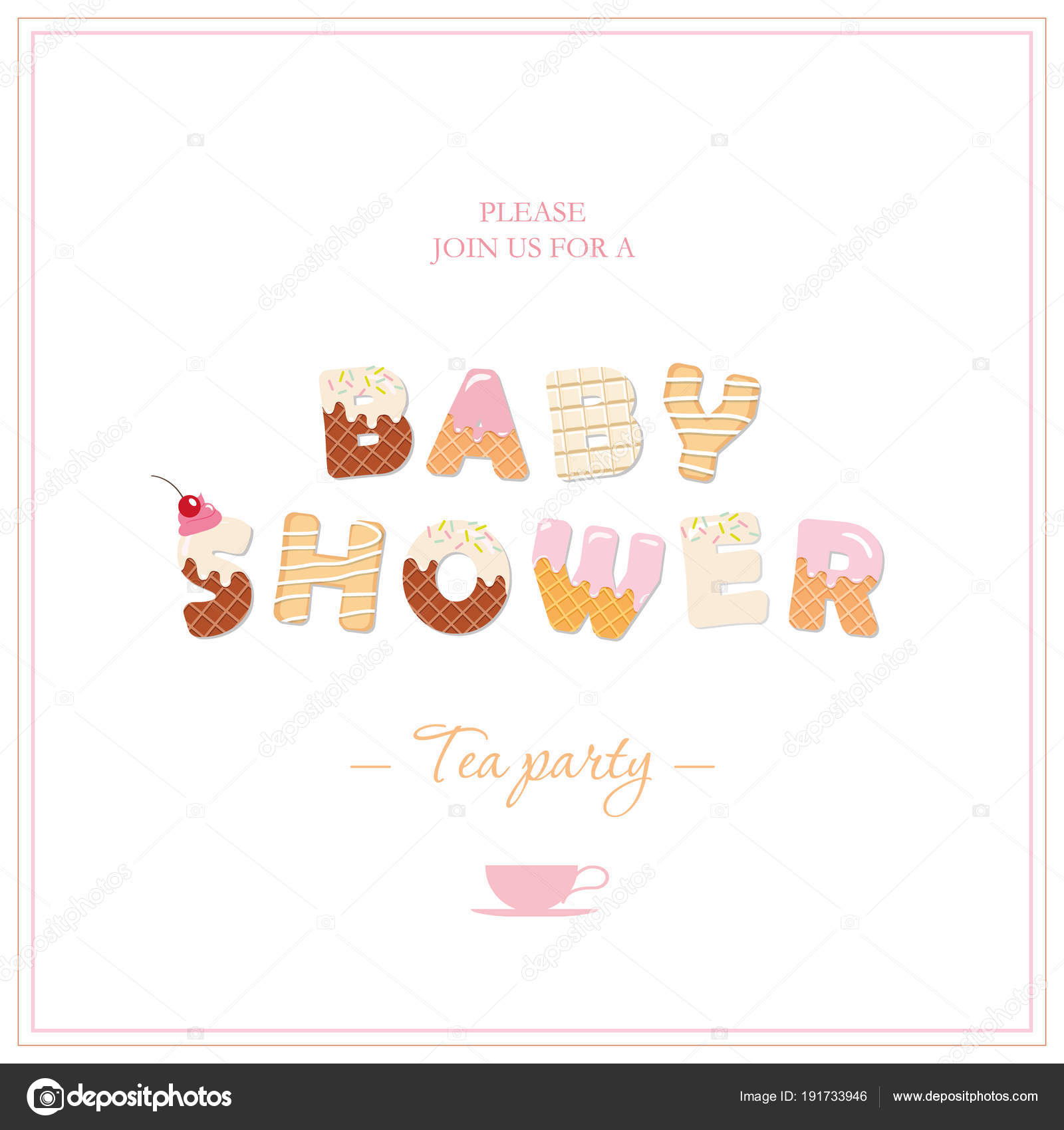 Baby Shower Tea Party Invitation Design. Sweet Decorative Letters In Pastel  Pink And Beige. Girly. Vector. U2014 Vector By Cutelittlethings