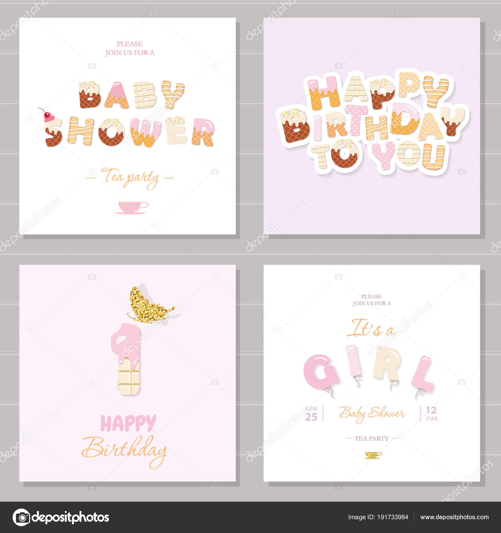 Little girl birthday and baby shower invitation cards set. One year ...