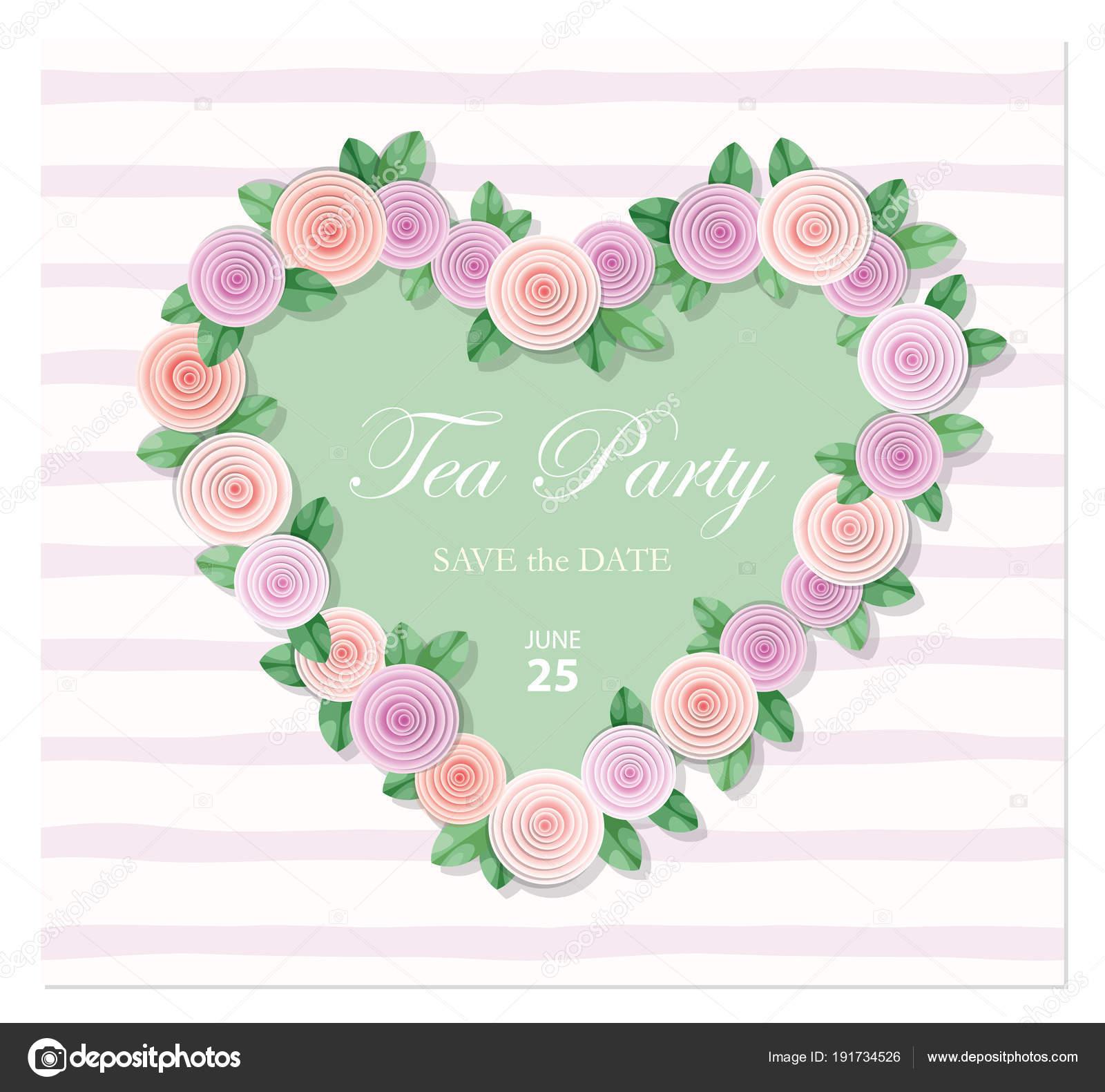 Herz Verziert Mit Rosen Vorlage. Geburtstag, Hochzeit, Einladung, Valentine  S Day Karte, Notebook Cover Für Mädchen. Vektor U2014 Vektor Von  Cutelittlethings