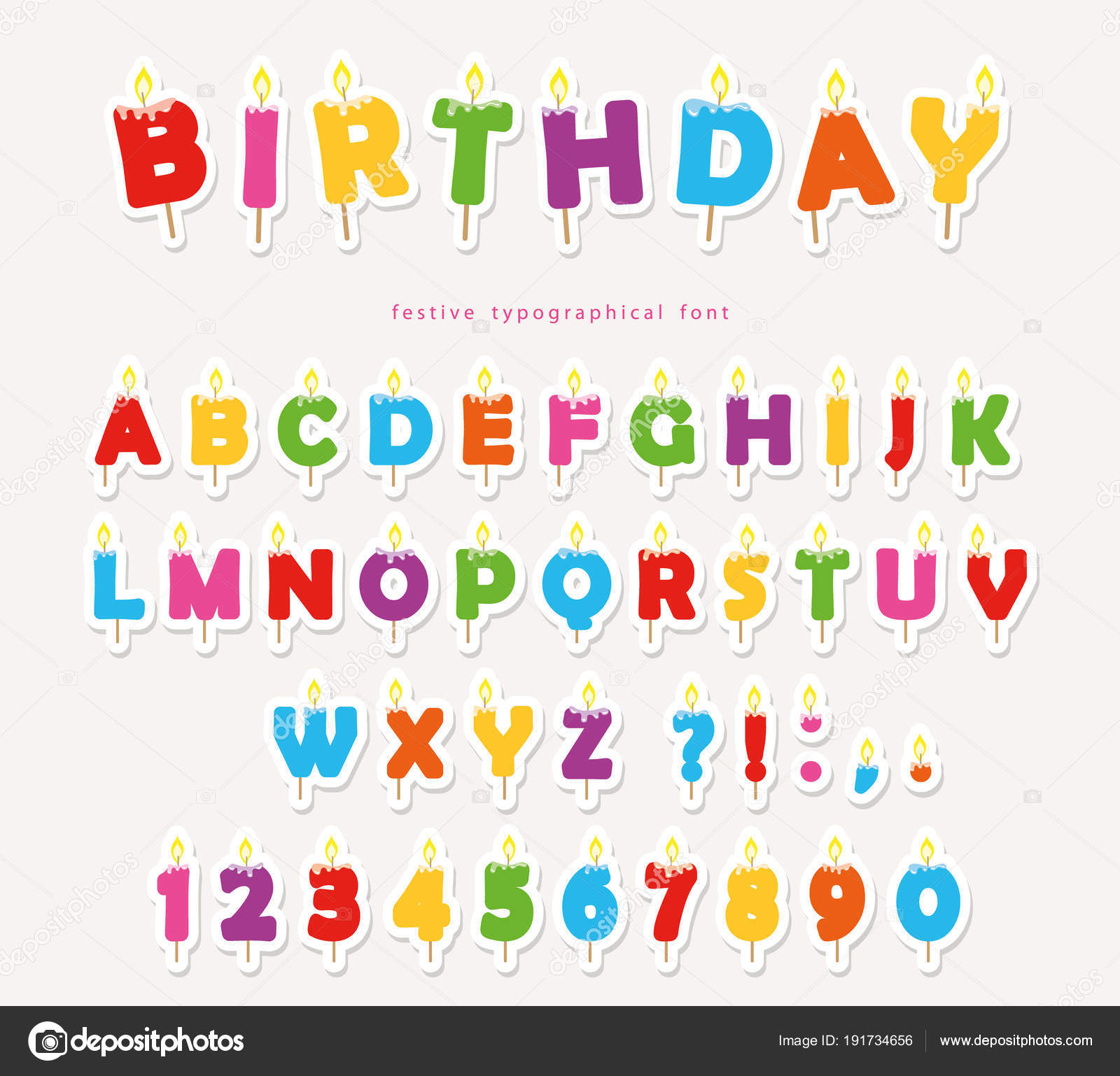 Birthday Candles Colorful Font Design Cutout ABC Letters And Numbers Vector By Cutelittlethings