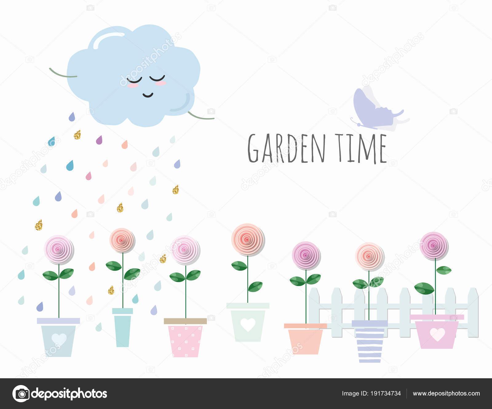 Trendy print mit Garten, Blumen in Töpfen. Niedliche Vorlage mit ...