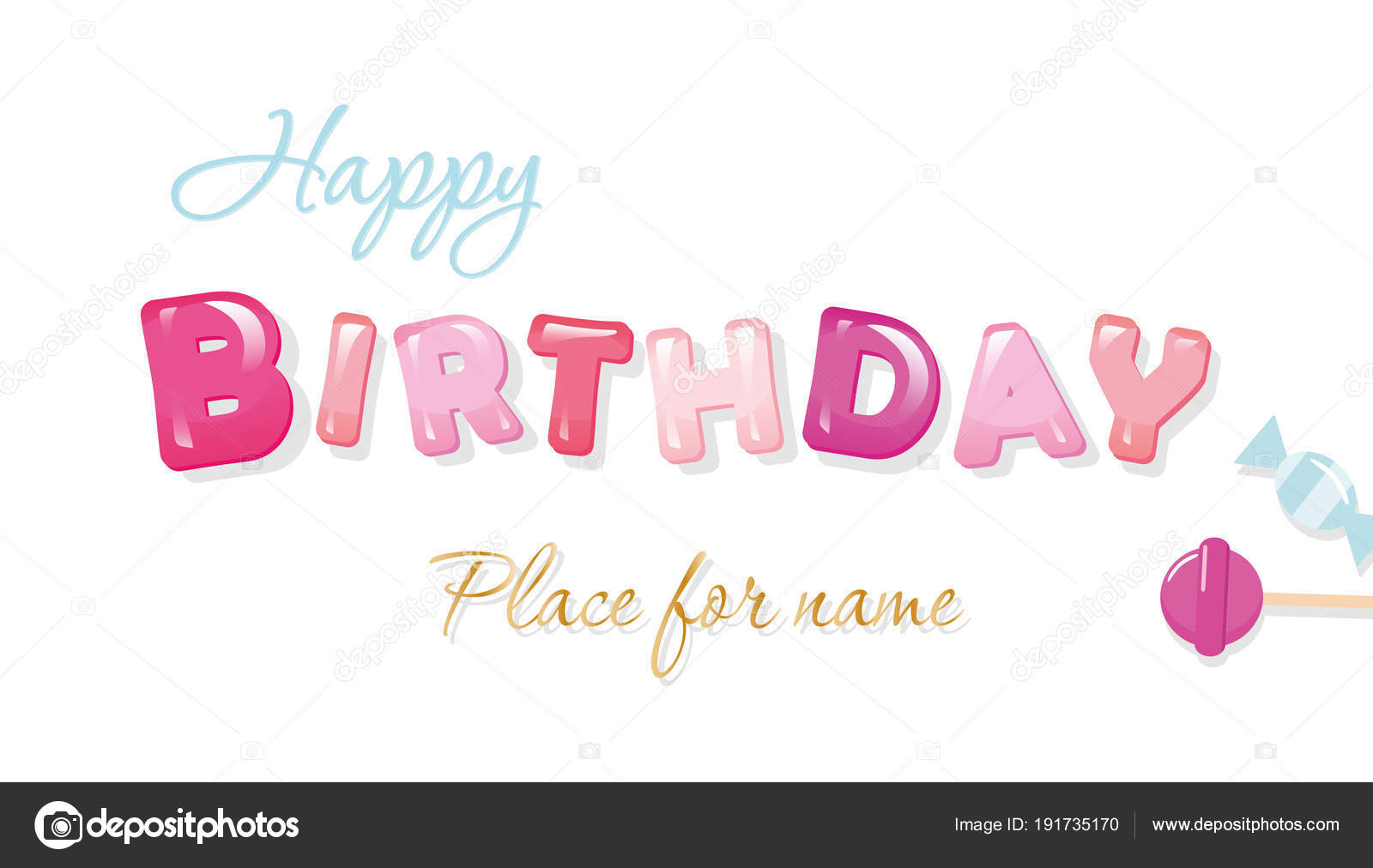 happy birthday banner sweet glossy letters isolated on white