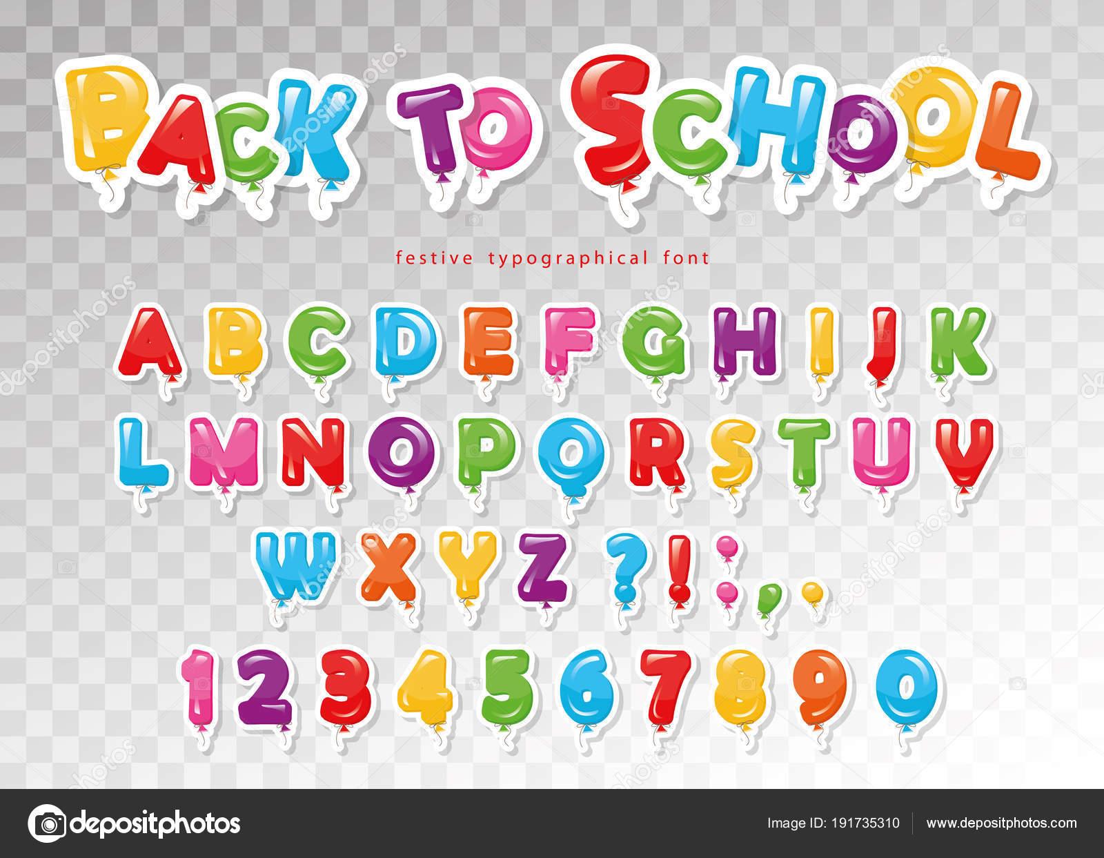 Abc Verjaardag.Terug Naar School Ballon Papier Knipsel Lettertype Voor