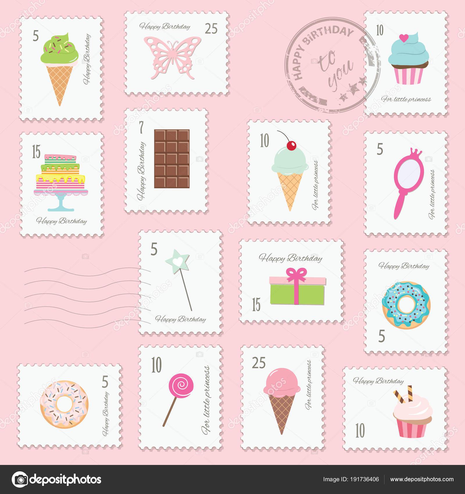Verjaardag Postzegels Instellen Voor Meisjes Stockvector