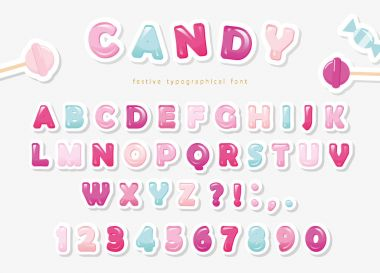 Paper cut out sweet font design. Candy ABC letters and numbers. Pastel pink and blue.