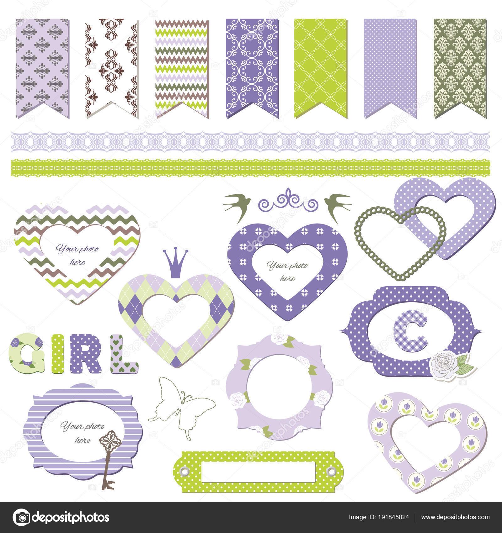 Textile frames. Scrapbook design elements. Girly. — Stock Vector ...