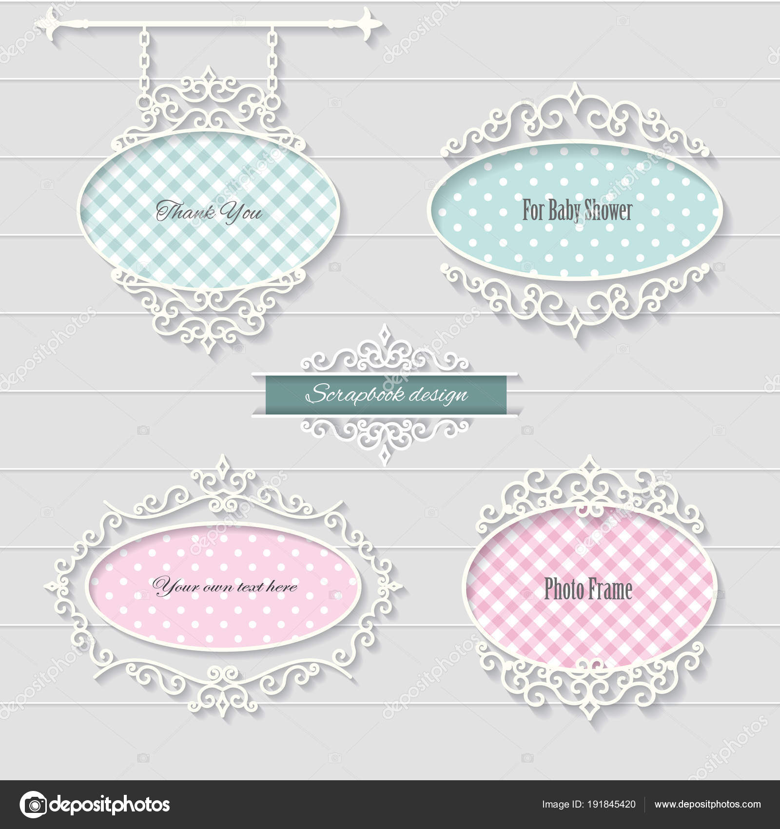 Cute oval frames and signboard. Girly. — Stock Vector ...