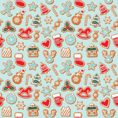 Photo Christmas seamless background. Colorful Gingerbread cookies. Traditional pattern for wrapping paper, banners, pajamas. Cute design elements. Raster