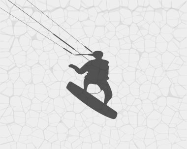 Silhouette of a surfer soaring on the water. Vector illustration.