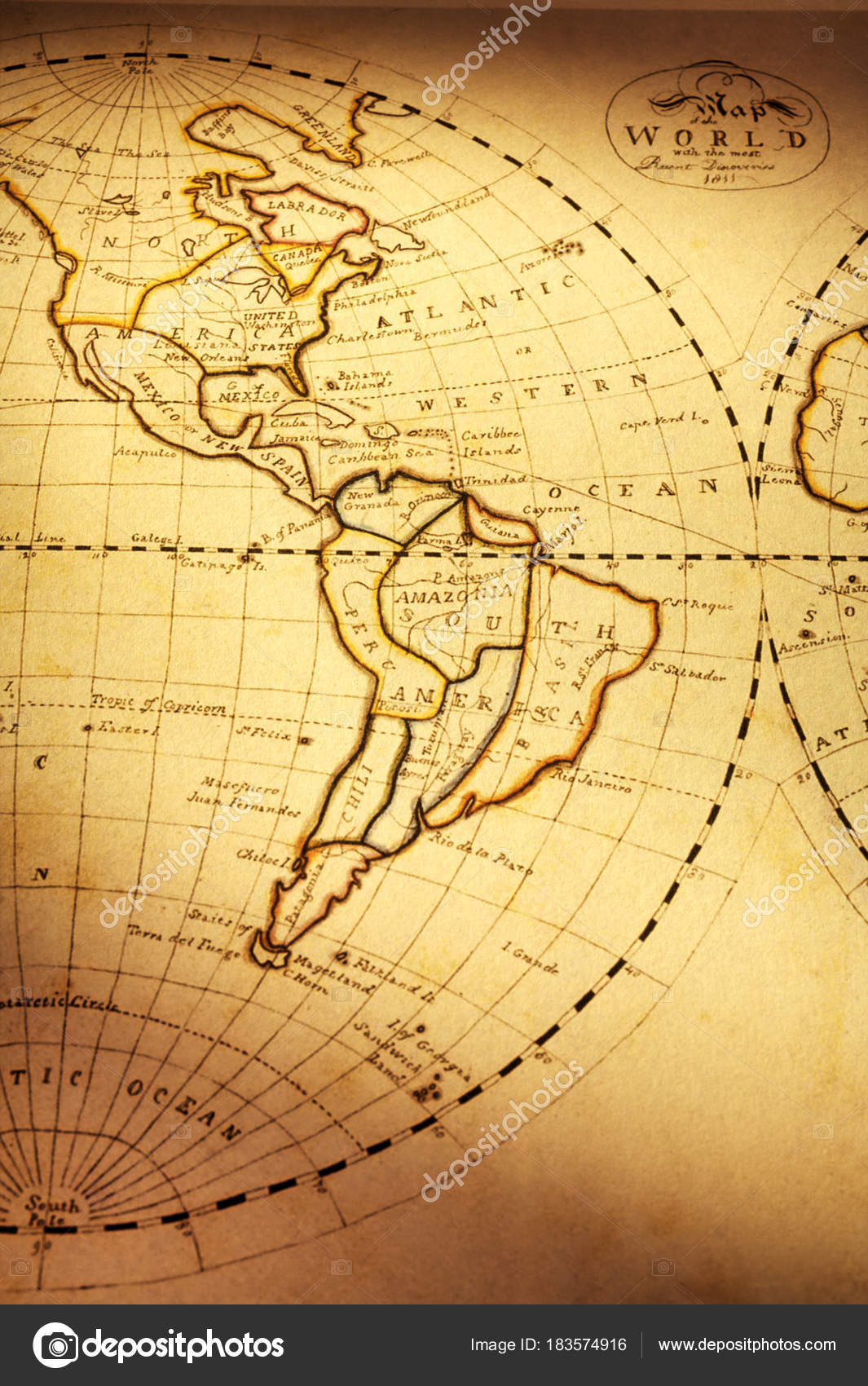 Old world map showing the americas stock photo travellinglight old world map showing the americas stock photo gumiabroncs Gallery