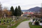 Banska Bystrica, Slovakia - November 19, 2019: Ancient cemetery in Banska Bystrica