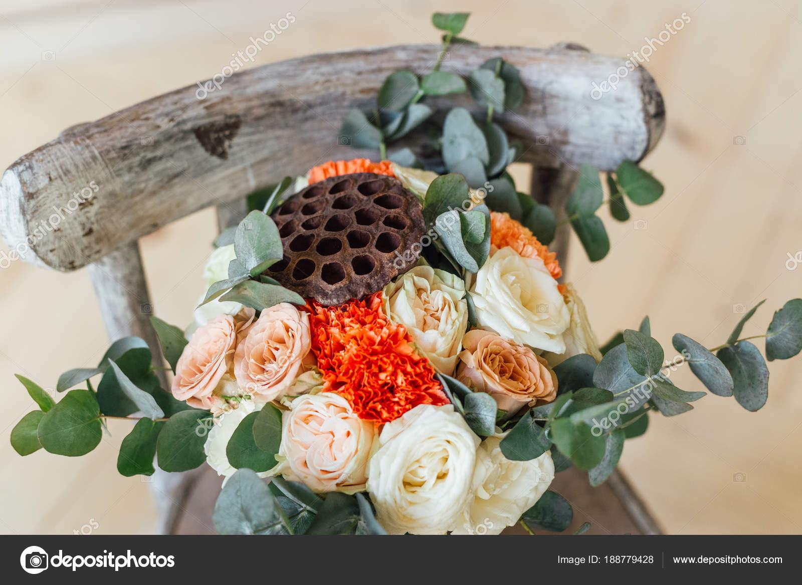 Close photo beautiful wedding bouquet flowers wooden chair close photo beautiful wedding bouquet flowers wooden chair background stock photo izmirmasajfo
