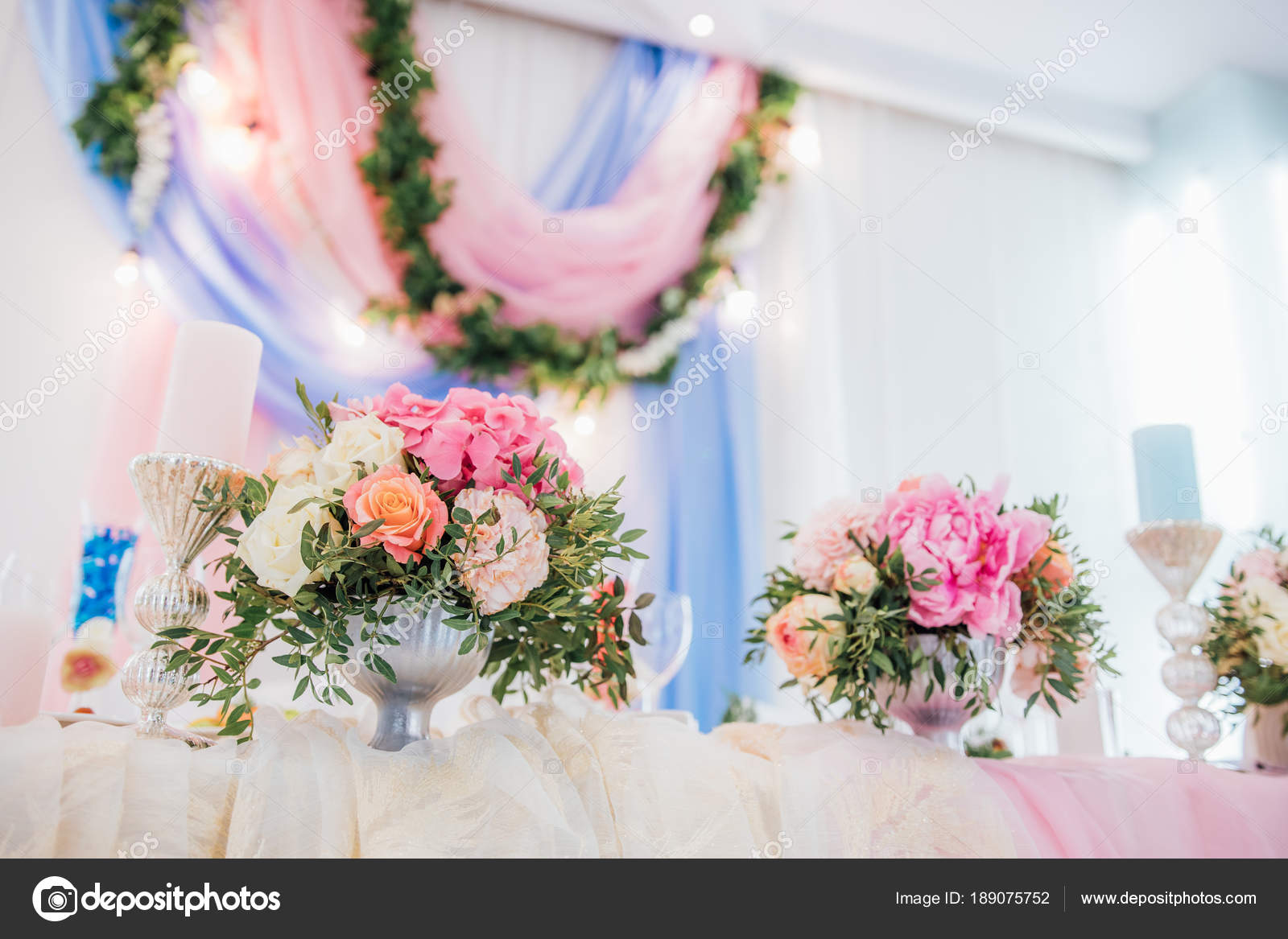 Wedding Table Decorated Gorgeous Flower Bouquets Candles Vintage ...
