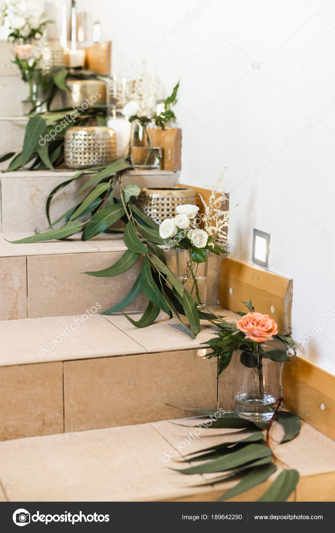 Close Floral Wedding Decorations Candles Stairs Stock Photo