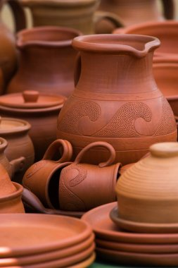 Pottery Clay jugs and plates