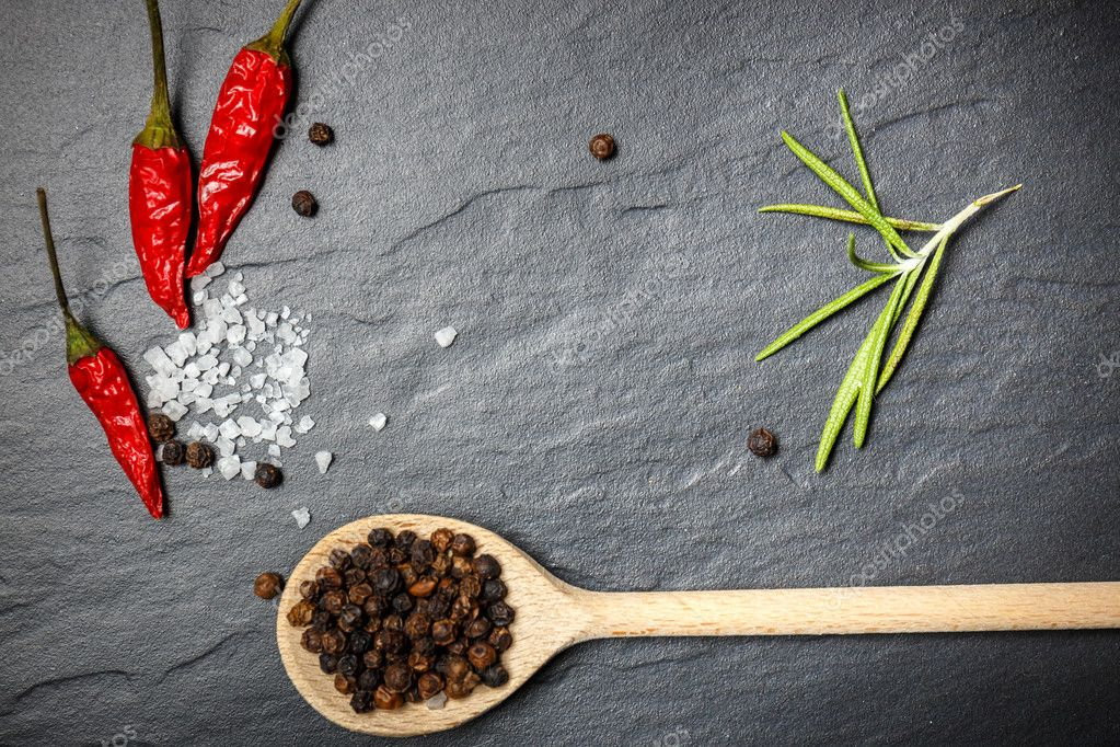 Chili With Black Pepper And Salt On Rustic Stone Background Overhead View Food Photography Photo By Wujekspeed