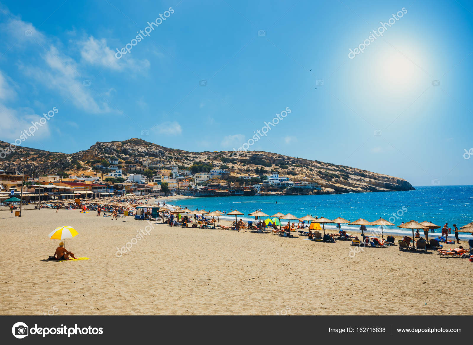 Crete Island Greece June 09 2017 Panorama Of Matala