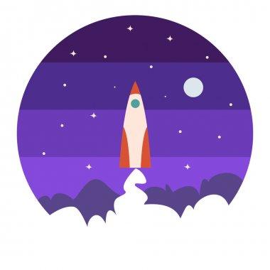Space rocket flat icon.Vector illustration,cartoon design.