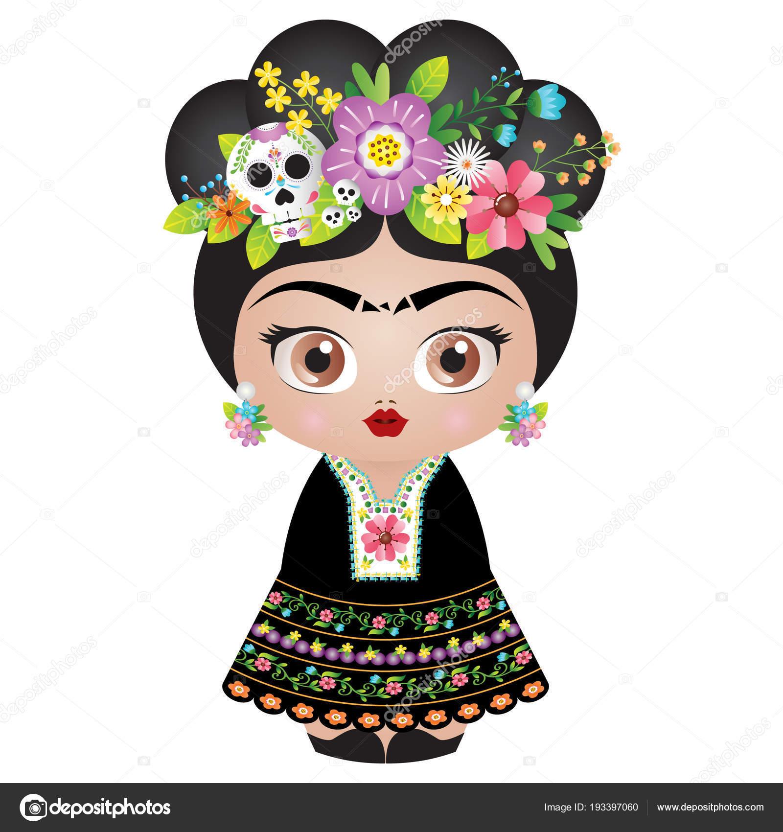 Vector Catrina Version Catrina Frida Kahlo Kokeshi Muneca