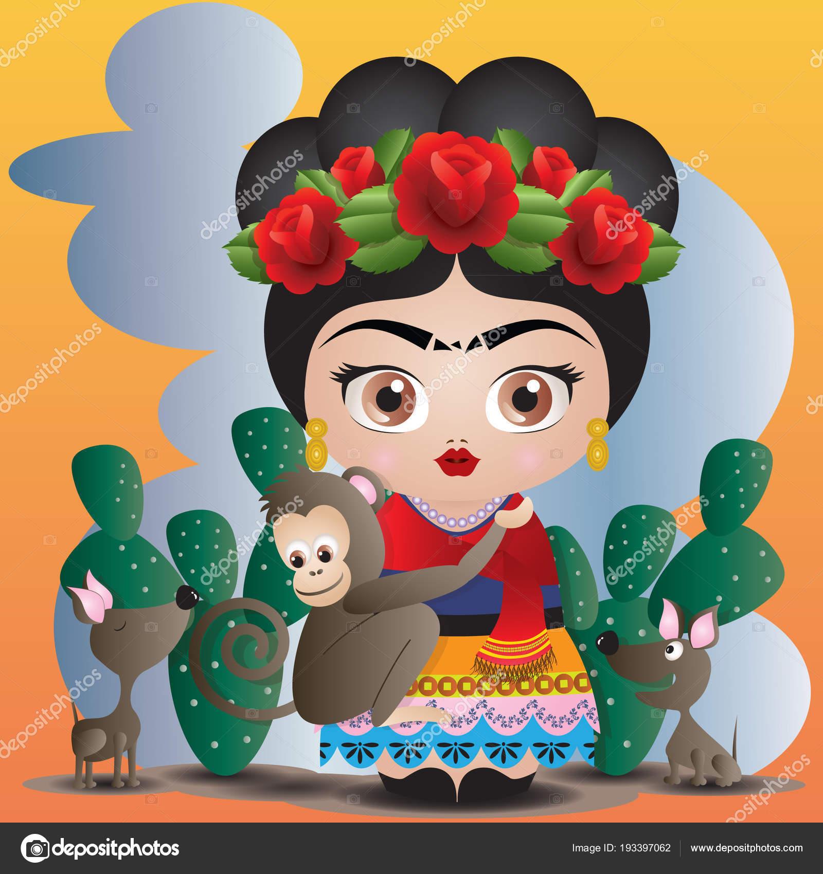 Dibujos Paisajes Mexicanos Frida Kahlo Sus Mascotas Estilo Muneca