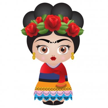 Frida Kahlo Kokeshi Doll - Illustration Vector - Roses