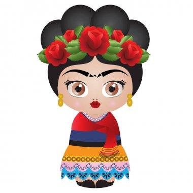 Frida Kahlo Kokeshi Doll - Illustration Vector - Roses