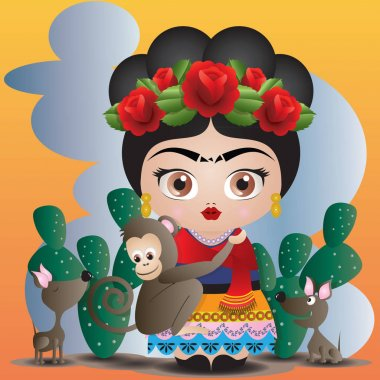 Frida Kahlo and her pets. Kokeshi doll style. Landscape background. Illustration Vector