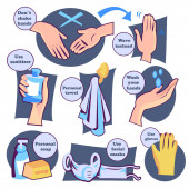 Protect yourself from virus. Wash hands and health care banner.
