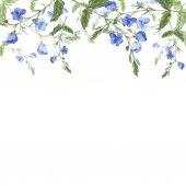 schöne Aquarellmalerei von blauen Blumen Muster