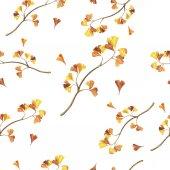 Fotografie beautiful illustration of wild orange leaves of ginkgo biloba seamless pattern on white background