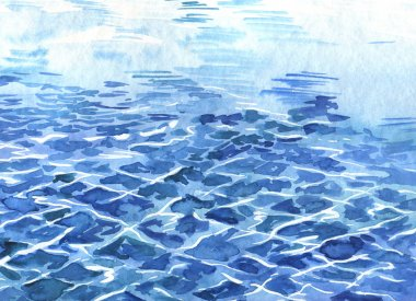 watercolor painting of blue sea water on sky background