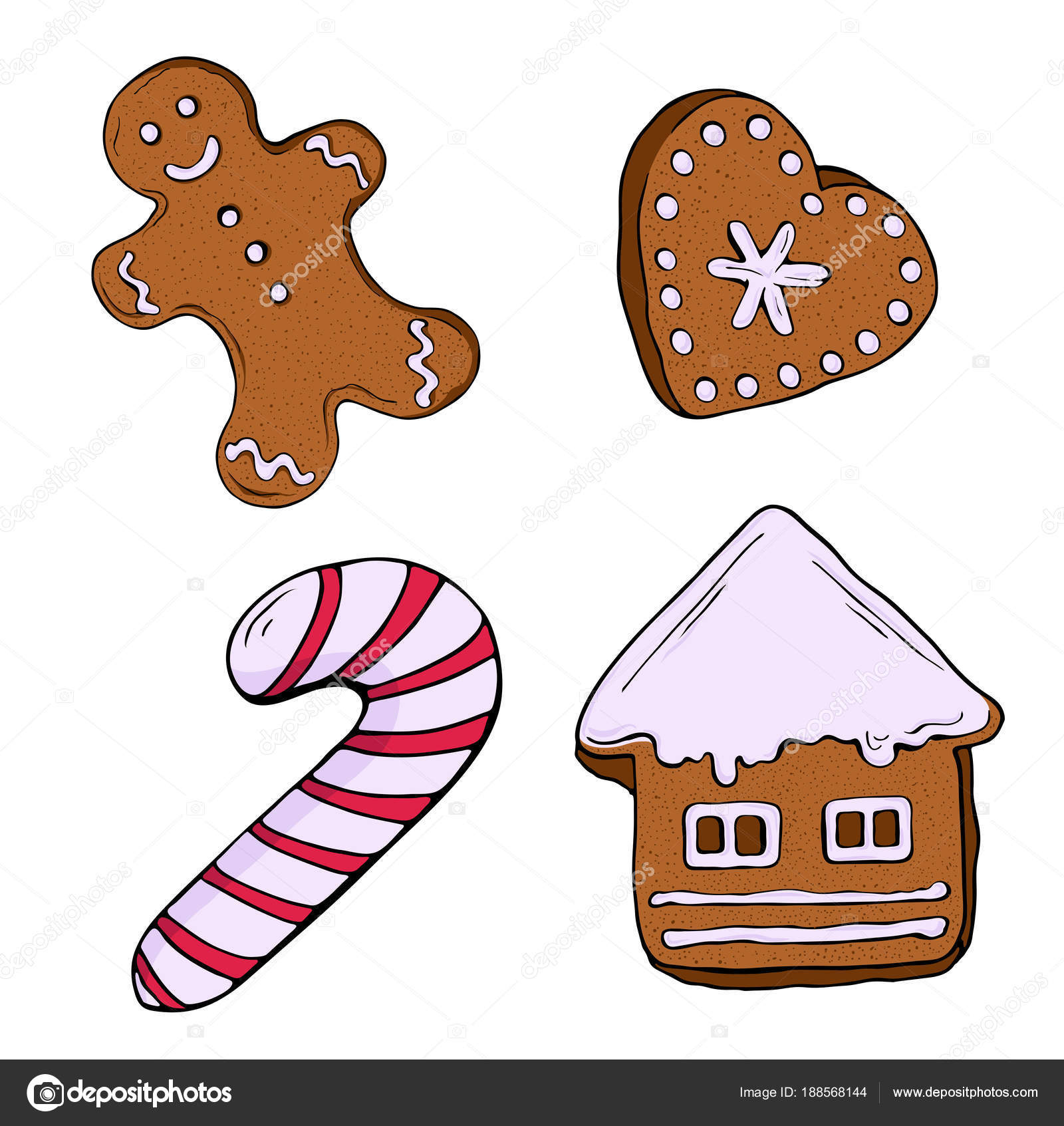 Imagenes De Galletas De Navidad Animadas.Dibujos Tradicionales De Navidad Conjunto Galletas