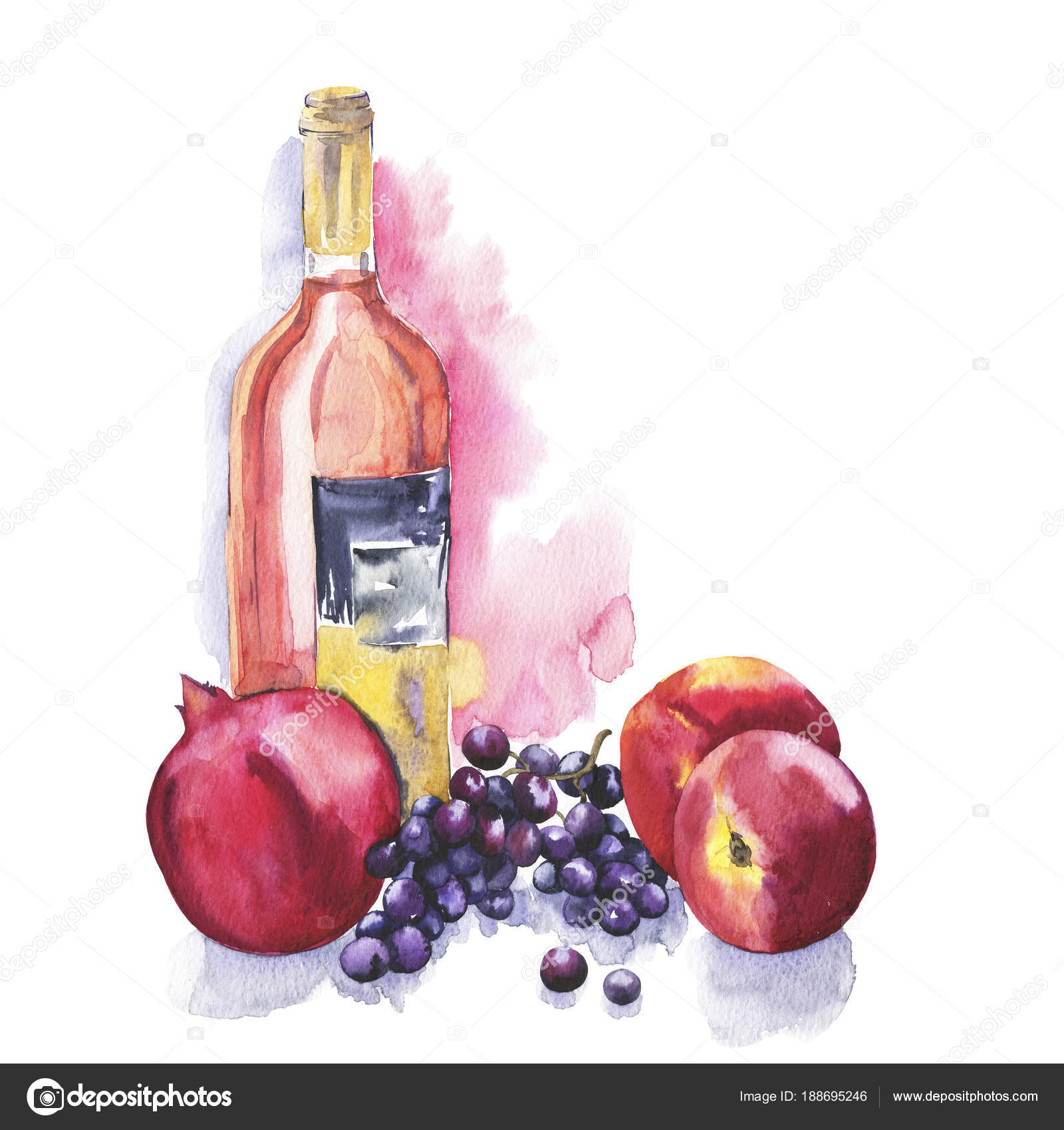 Watercolor Painting Wine Bottle Fruits White Background Stock Photo Image By C Angry Red Cat 188695246