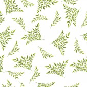 beautiful hand-drawn illustration of green branches seamless pattern background