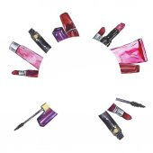 Photo beautiful watercolor painting of makeup set circle pattern isolated on white background