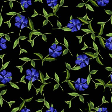 beautiful watercolor painting of blue bell flowers seamless pattern on black background