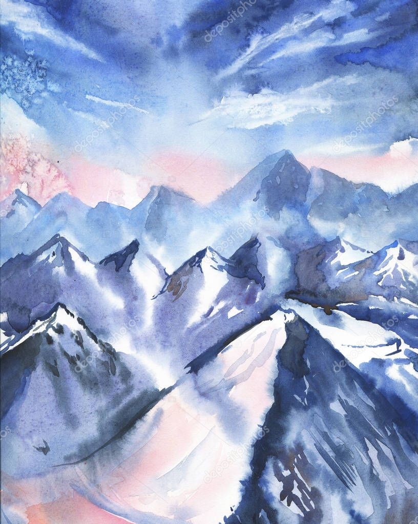 beautiful watercolor painting of winter landscape with snowy mountains