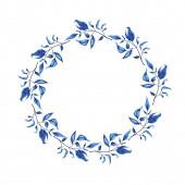 Fotografie Blaue Blätter und Zweige Girlande isoliert auf weißem Hintergrund. Handgezeichnete Aquarell Abbildung
