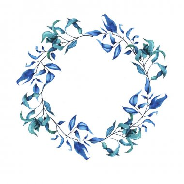 Blue leaves frame isolated on white background. Hand drawn watercolor illustration.